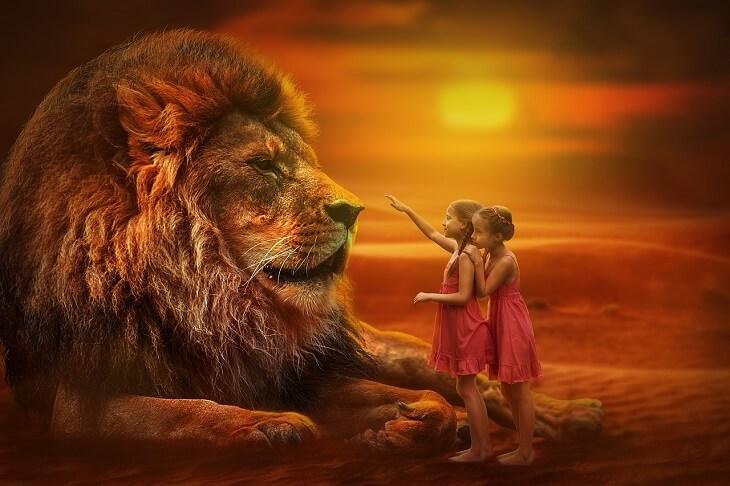 ライオンと少女画像