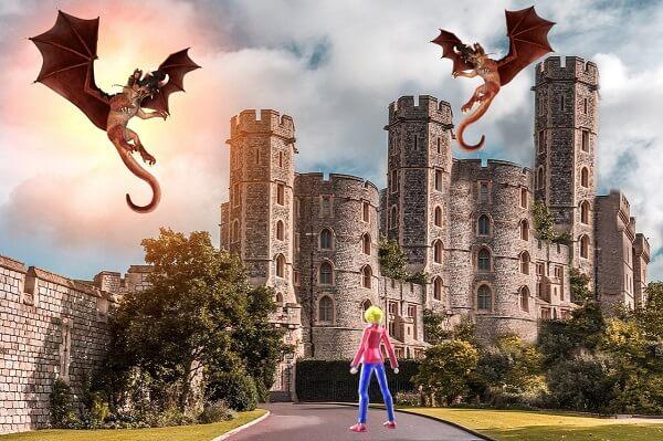 やまとし城に到着もドラゴン2匹