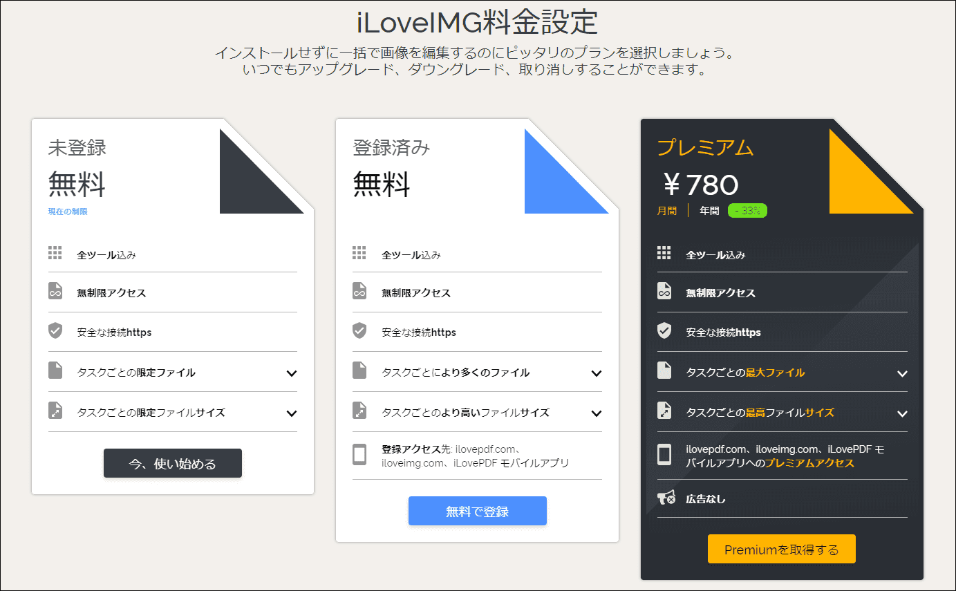 iLoveIMG料金プラン