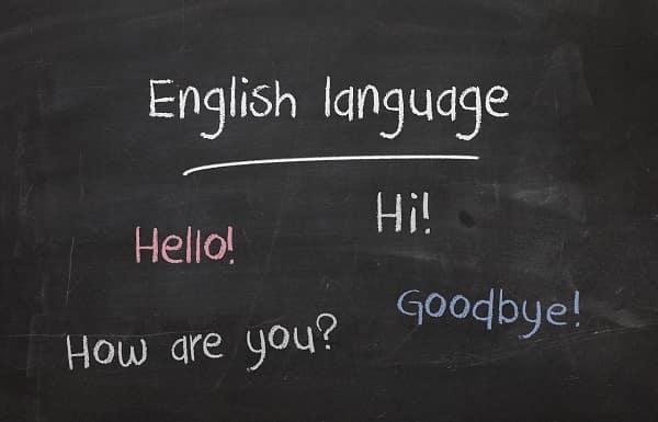 黒板に英語
