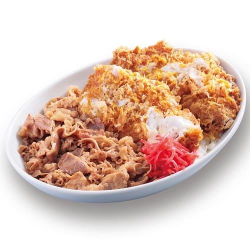 特盛牛丼カツ丼(80gロース2枚使用)850円+税