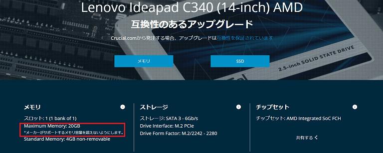 ideapad c340(14,AMD)用のメモリー