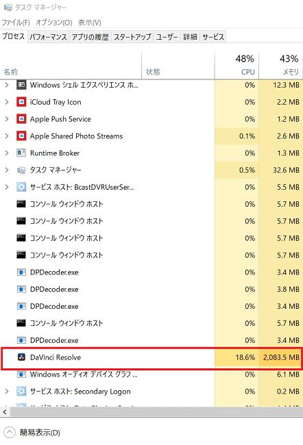 CPUの使用率が高い
